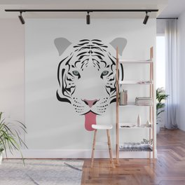 White Tiger Tongues Out Wall Mural