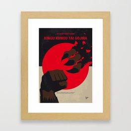 No1030 My King Kong vs Godzilla minimal movie poster Framed Art Print
