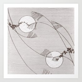 Two Moons Stencil,19th century Japan Art Print