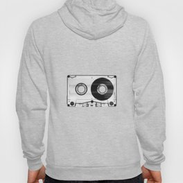 Vintage 80's Cassette - Black and White Retro Eighties Technology Art Print Wall Decor from 1980's Hoody