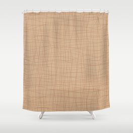 Cavern Clay SW 7701 Hand Drawn Abstract Mosaic Grid Pattern on Ligonier Tan SW 7717 Shower Curtain
