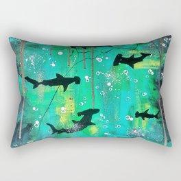 Teal hammerheads Rectangular Pillow