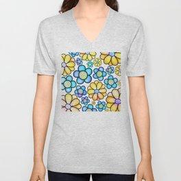 Cute Colorful Doodle Daisy Flowers Pattern Unisex V-Neck