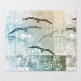 Free Like A Bird Seagull Mixed Media Art Canvas Print