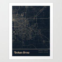 Broken Arrow United States City Map Art Print