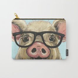 Cute Pig Painting, Farm Animal with Glasses Carry-All Pouch