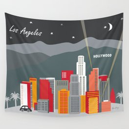 Los Angeles, California - Skyline Illustration by Loose Petals Wall Tapestry