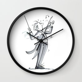 Funny Violin Illustration - The Dismount Wall Clock