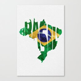 Brasil Typographic World Map / Brasil Typography Flag Map Art Canvas Print