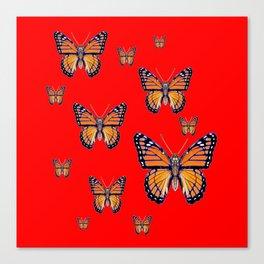 RED ART MONARCH BUTTERFLIES Canvas Print