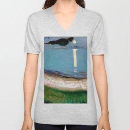 Edvard Munch - Moonlight Unisex V-Neck