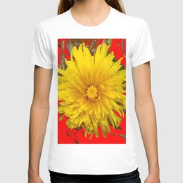 DECORATIVE  YELLOW DANDELION BLOSSOM ON ORGANIC RED ART T-shirt
