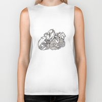 wolves Biker Tanks featuring Wolves by Freja Friborg