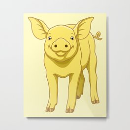 Cute Piglet July 17 Yellow Pig Day Metal Print