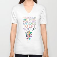 dumbo V-neck T-shirts featuring lift you up.. dumbo inspirational quote by studiomarshallarts