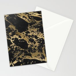 Modern faux gold glitter black marble Stationery Cards