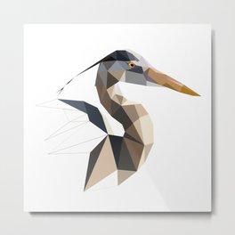 Great blue heron Bird geometric art Triangles Metal Print