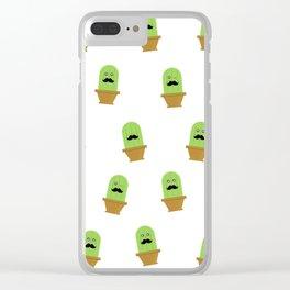 Wabi-Sabi Mustache Cactus Pattern Clear iPhone Case