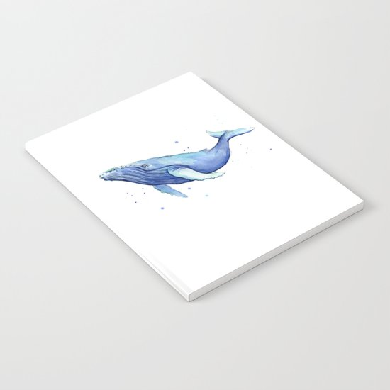 Humpback Whale Watercolor Painting  Whimsical Animal Art Notebook