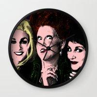hocus pocus Wall Clocks featuring Hocus Pocus - Sanderson Sisters by Binge Designs Homeware