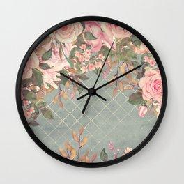 Vintage Garden (Misty Roses) Wall Clock