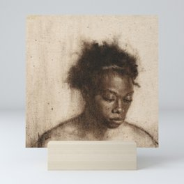 Shawna Portrait Painting of African Woman in Brown Mini Art Print