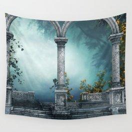 Idyllic Ancient Antique Greek Roman Mediterranean Fantasy Ruins Pillars Ultra HD Wall Tapestry