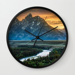 Sunset On Grand Teton And Snake River Wall Clock
