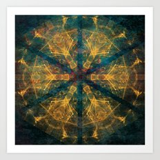 Tribal mandala in blue and gold Art Print