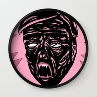 horror Wall Clocks featuring Horror by Olivier Carignan