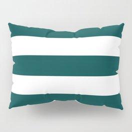 Rich black - solid color - white stripes pattern Pillow Sham