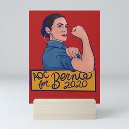 AOC for Bernie 2020 Mini Art Print