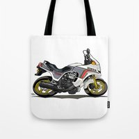honda Tote Bags featuring 1982 Honda CX500TC Turbo by Saddle Bums