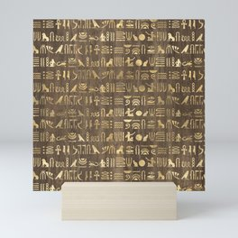 Brown & Gold Ancient Egyptian Hieroglyphic Script Mini Art Print