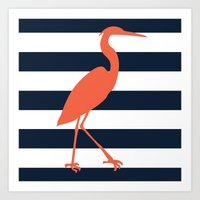 crane Art Prints featuring Crane by Gathered Nest Designs
