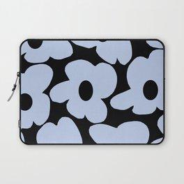 Baby Blue Retro Flowers on Black Background #decor #society6 #buyart Laptop Sleeve