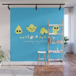 Chicks and Duckling Counting My Chickens Saying Wall Mural