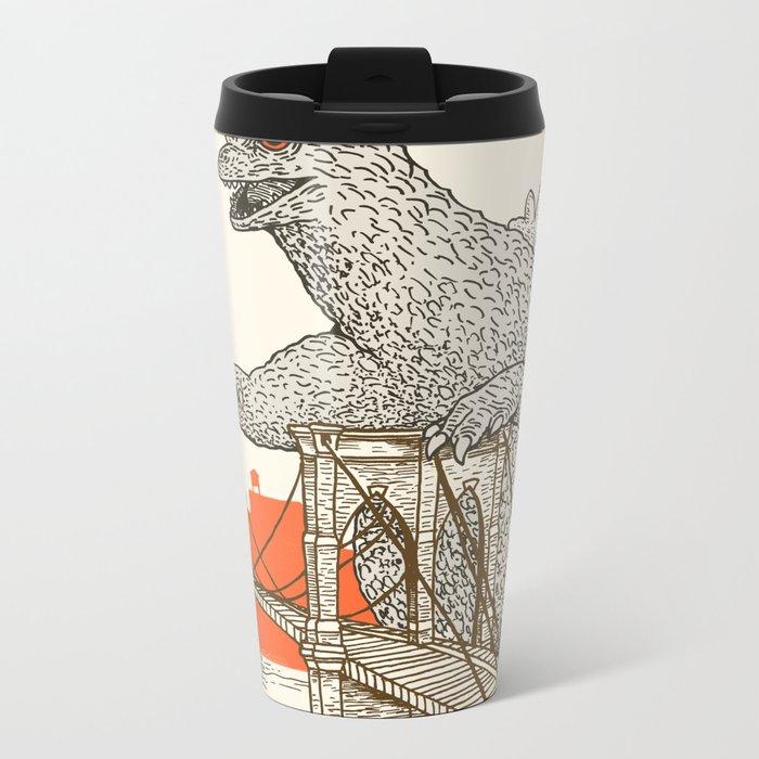 Godzilla vs. the Brooklyn Bridge Metal Travel Mug
