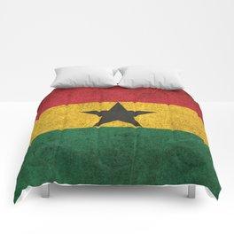 Old and Worn Distressed Vintage Flag of Ghana Comforters