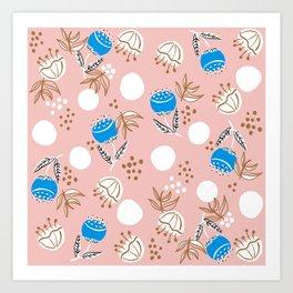 Modern folky Scandi florals Art Print