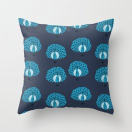 Peacock illustrated pattern by andrea lauren navy and blue bird gifts peacocks Throw Pillow