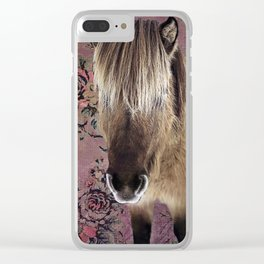 Icelandic pony with rosy posies Clear iPhone Case