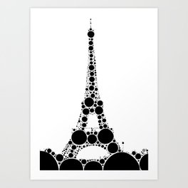 """Eiffel Tower White Background - from """"Further Back"""" series Art Print"""