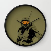 master chief Wall Clocks featuring Master Chief Redux by Anthony Bellus