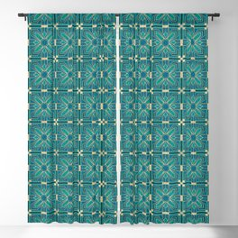 Art Deco Flowers in Teal and Faux Gold Blackout Curtain