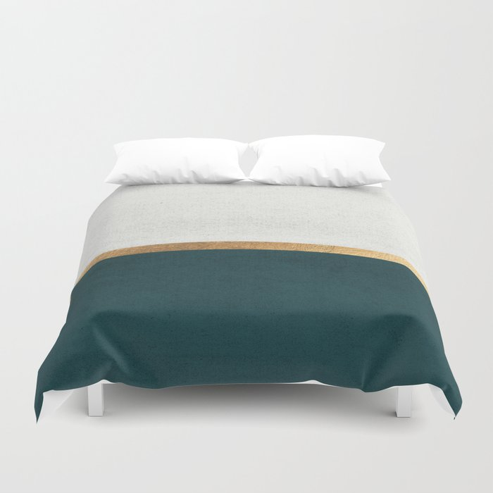 Deep Green, Gold and White Color Block Bettbezug