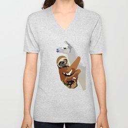 Sloth Llama Unisex V-Neck