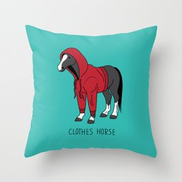 Clothes Horse Red Throw Pillow