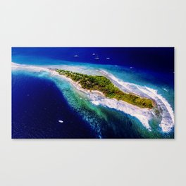 Aerial Tropical Island Boats Canvas Print