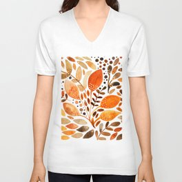Autumn watercolor leaves Unisex V-Neck